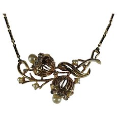 Vintage Mid Century Goldtone Necklace With Faux Pearls and Clear Crystals