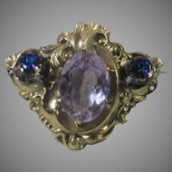 Victorian Gold Filled Pin With Pink Crystals and Blue to Purple Accents