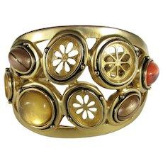 Vintage Goldtone Bracelet With Art Glass Cabochons