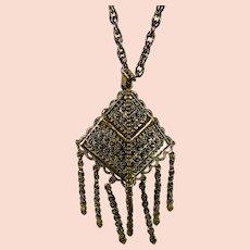"""Vintage Hollycraft Goldtone """"Bolo"""" Style Necklace"""