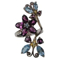 Sterling Silver Gemstone Butterflies and Flower Ring With Blue Topaz, Amethyst and Citrine