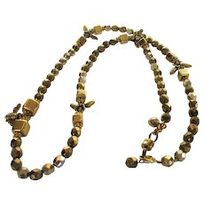 Vintage Goldtone Bee Necklace With Bronze Beads and 5 Goldtone Bees