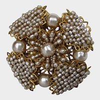 William De Lillo Maltese Cross Pin With Faux Seed Pearls and Other Faux Pearls