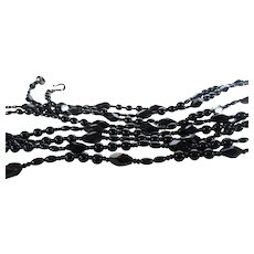 Vintage 80 Inch Long Black Glass Bead Necklace