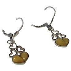 Sterling Silver Butterscotch Amber Tumbling Hearts Earrings For Pierce Ears