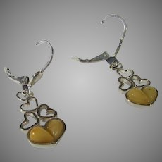 Sterling Silver Butterscotch Amber Tumbling Hearts Earrings For Pierce Ears