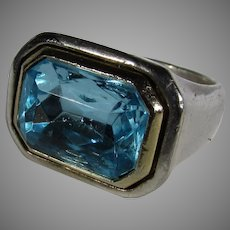 Sterling Silver Ring With Blue Crystal Accent