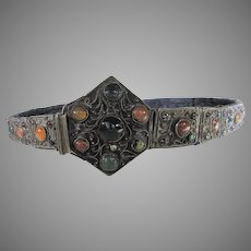 Sterling Antique Belt With Embedded Agates and Other Paste Stones