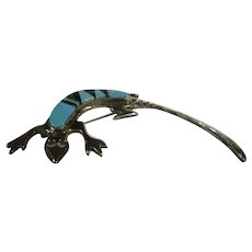 Sterling Silver Melissa Yazzi Salamander Pin With Turquoise and Lapis Accents