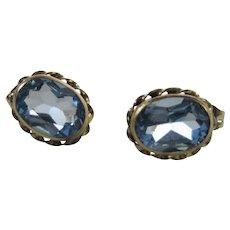 10 Karat Yellow Gold Blue Topaz Pierced Studs