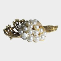 Vintage Signed Art Goldtone Pin With Faux Pearls