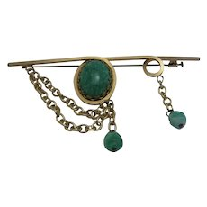 Vintage Nouvelle Bijoux Lux Brooch with Green Glass Beads