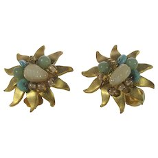 Vintage Brushed Goldtone Clip Earrings With Art Glass Bead Accents