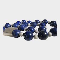 Artisan 20 MM Lapis Lazuli Beads With Amazing Brush Sterling Focal With Iolite And  Sterling Clasp