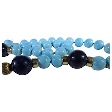 14 Karat Yellow Gold turquoise and Lapis Lazuli Bead Necklace Yellow Gold Findings and Clasp