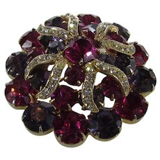 Vintage Weiss Red and Purple Pin With Clear Crystal Accents