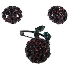 Vintage Warner Cherry Pin and Matching Clip On Earring Set in Deep Cherry Red