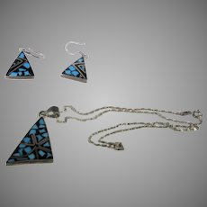Sterling Silver Mexican Enamelled Pendant and Matching Pierced Earring Set