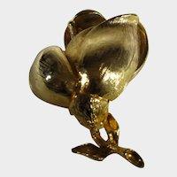 Vintage Signed Rojet Goldtone Multi Dimensional Flower Pin