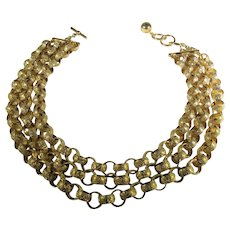 Vintage Anne Klein Goldtone Triple Chain Necklace