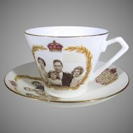 1937 Coronation Cup and Saucer King George, Queen Elizabeth, Princess Elizabeth and Princess Margaret
