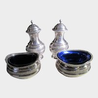 Sterling Silver Salt and Pepper Set Cobalt Liners by Black, Starr and Frost