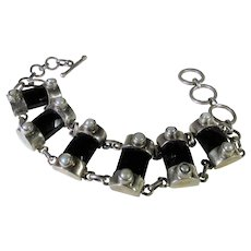 Sterling Silver Onyx Bracelet With Toggle Closure
