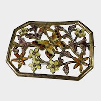 Vintage Enamelled Butterfly and Flower Pin