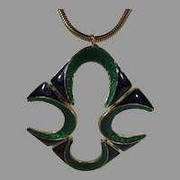 Mid Century Modern Enamelled Statement Goldtone Snake Chain Necklace