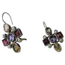 Sterling Silver Gemstone Earrings for Pierced Ears with Garnet, Amethyst, Citrine and Seed Pearls