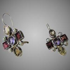 Sterling Silver Gemstone Earrings for Pierced Ears with Garnet, Amethyst, Citrine and Seed Pearls