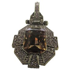 Vintage Heidi Daus Pendant With Faux Citrine Surrounded by Crystals