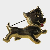 Vintage Brass Dog Pin with Black Nose and Red Tongue