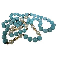 14 Karat Yellow Gold Turquoise Beads, Cultured Pearls Necklace with 14 Karat Findings