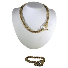 Vintage Matching Goldtone Necklace and Bracelet With Leopard Toggle Closure