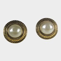 Chanel Signed and Numbered Made in France Clip On Faux Pearl Earrings