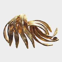 Vintage Goldtone Mid Century Modern Leaf Pin in Abstract Form