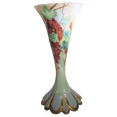 Limoges Hand Painted Floral Vase