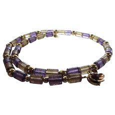 Artisan O.O.A.K. Natures Pair Amethyst and Citrine Necklace With 14 Karat Clasp and Beads