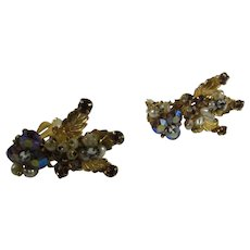 Vintage Robert Clip Earrings In Goldtone With Aurora Borealis Beads and Seed Pearls
