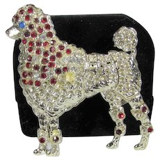 Vintage SIlver Tone Poodle Pin With Ruby Crystals