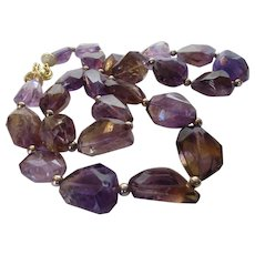 Artisan O.O.A.K. Runway Ametrine Beads With 14 Karat Beads and Vermeil Crystal Studded Clasp
