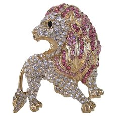 Vintage Sparkly Crystal Encrusted Lion Pin