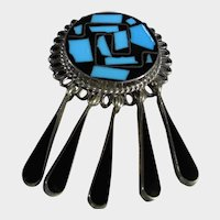 Sterling Silver Mexican Pin Pendant in Turquoise and Black enamel
