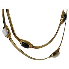 Vintage Goldtone Necklace With Black and White Lucite Accents
