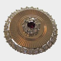 Vintage Boucher Mid Century Goldtone Pin with Faux Ruby and Clear Crystals
