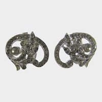 Vintage Crown Trifari Silver Tone Clip  On Earrings With Clear Crystals