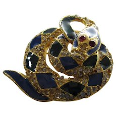 Vintage Enamelled Coiled Diamondbacked Snake Pin With Crystal Accents