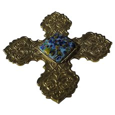 Vintage Maltese Cross Pin or Pendant by Accessorcraft NYC with Art Glass Center