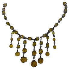 Vintage Golden Crystal Festooned Necklace